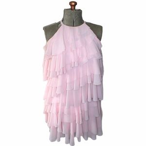 🎀French Connection Blush Pink Tiered Ruffle Dress